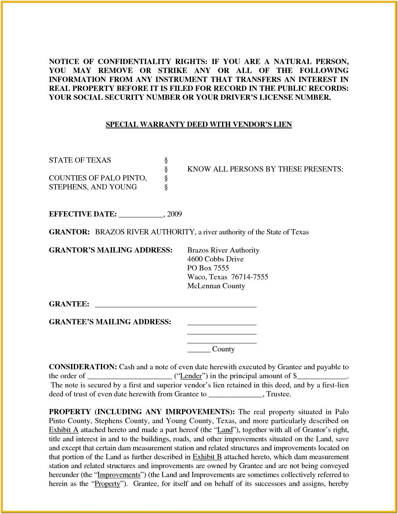 Contract For Deed Texas Form