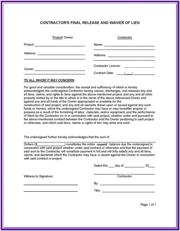 Contractor Lien Waiver Form