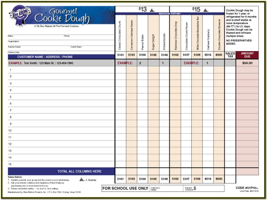 Cookie Dough Fundraiser Order Form