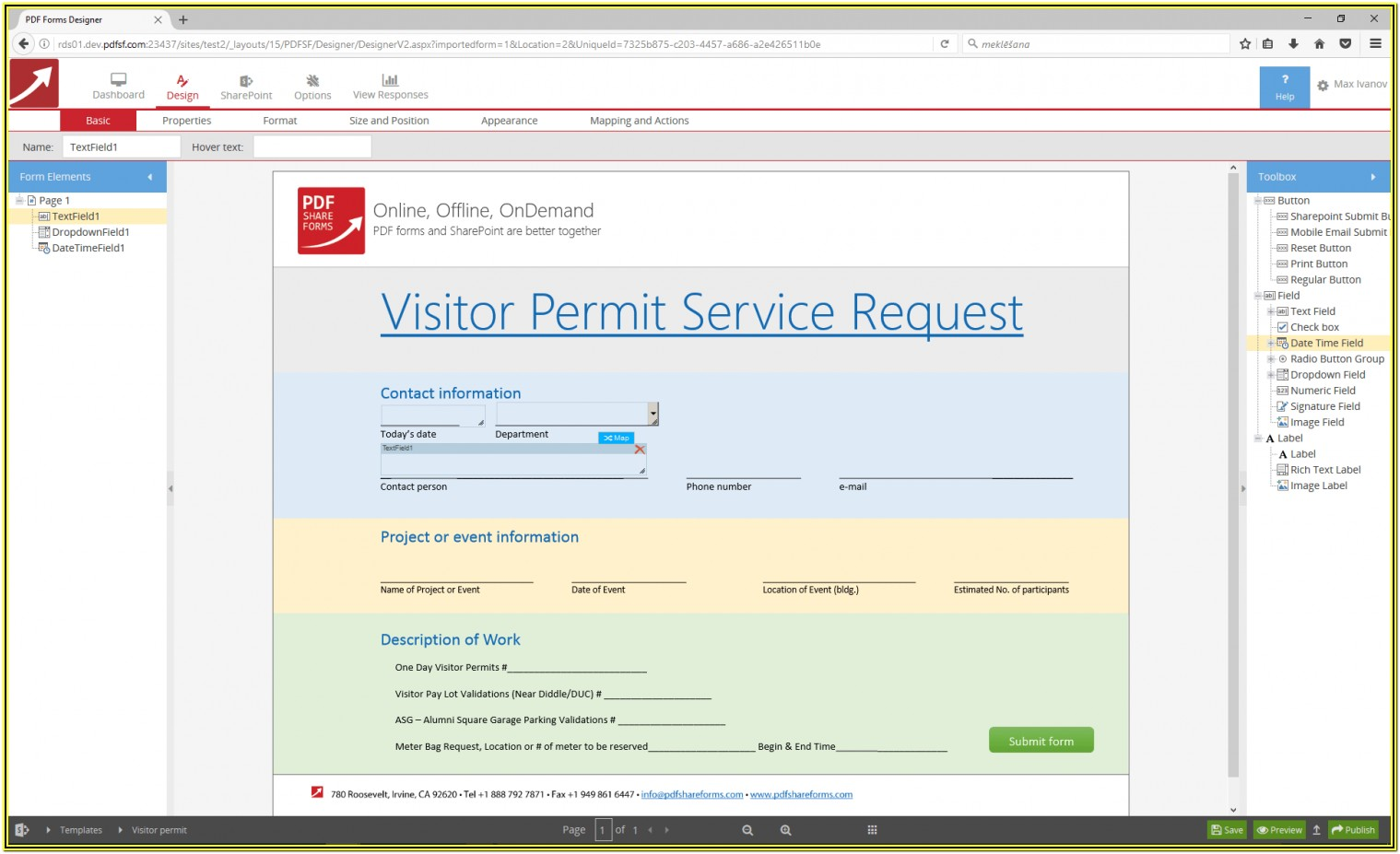 Creating A Fillable Form In Sharepoint