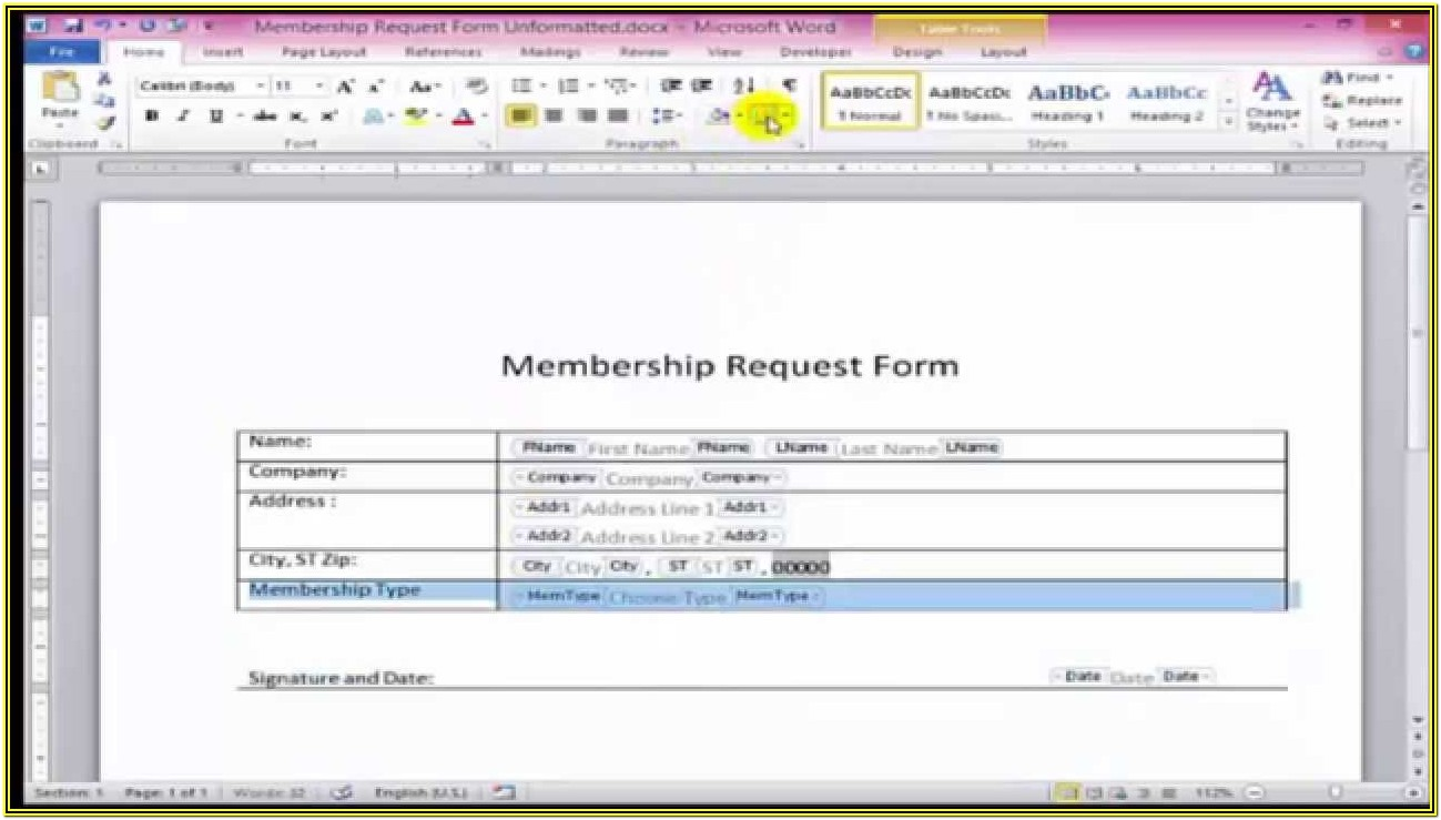 Creating A Fillable Form In Word