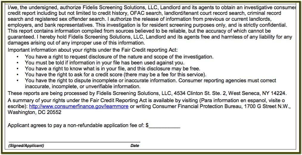 Credit Check Authorization Form For Landlords
