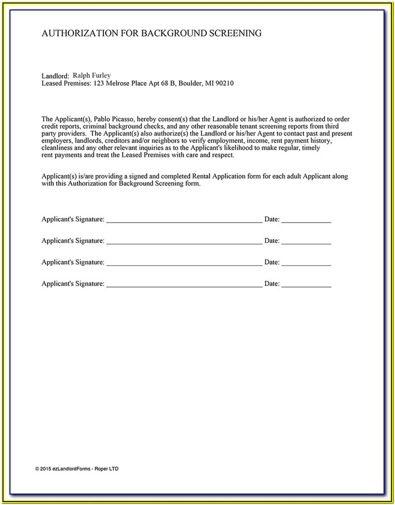 Credit Check Authorization Form For Renters