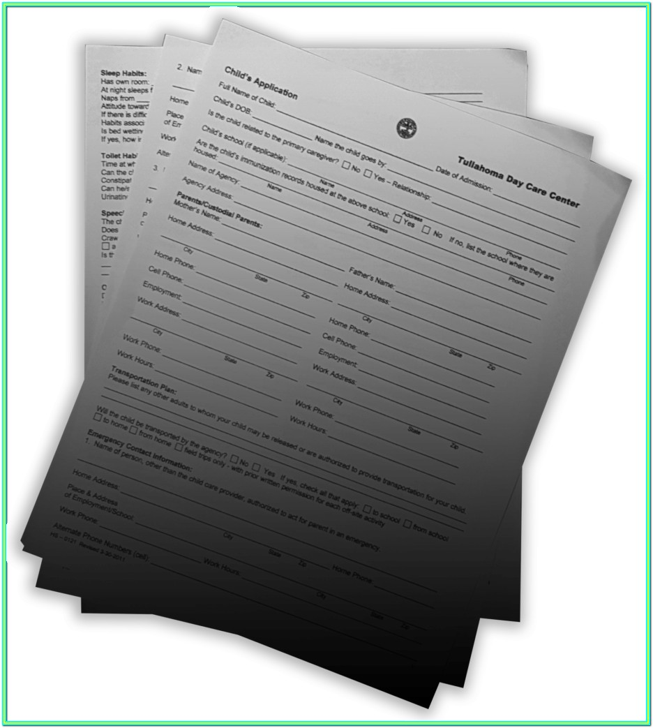 Day Care Application Form