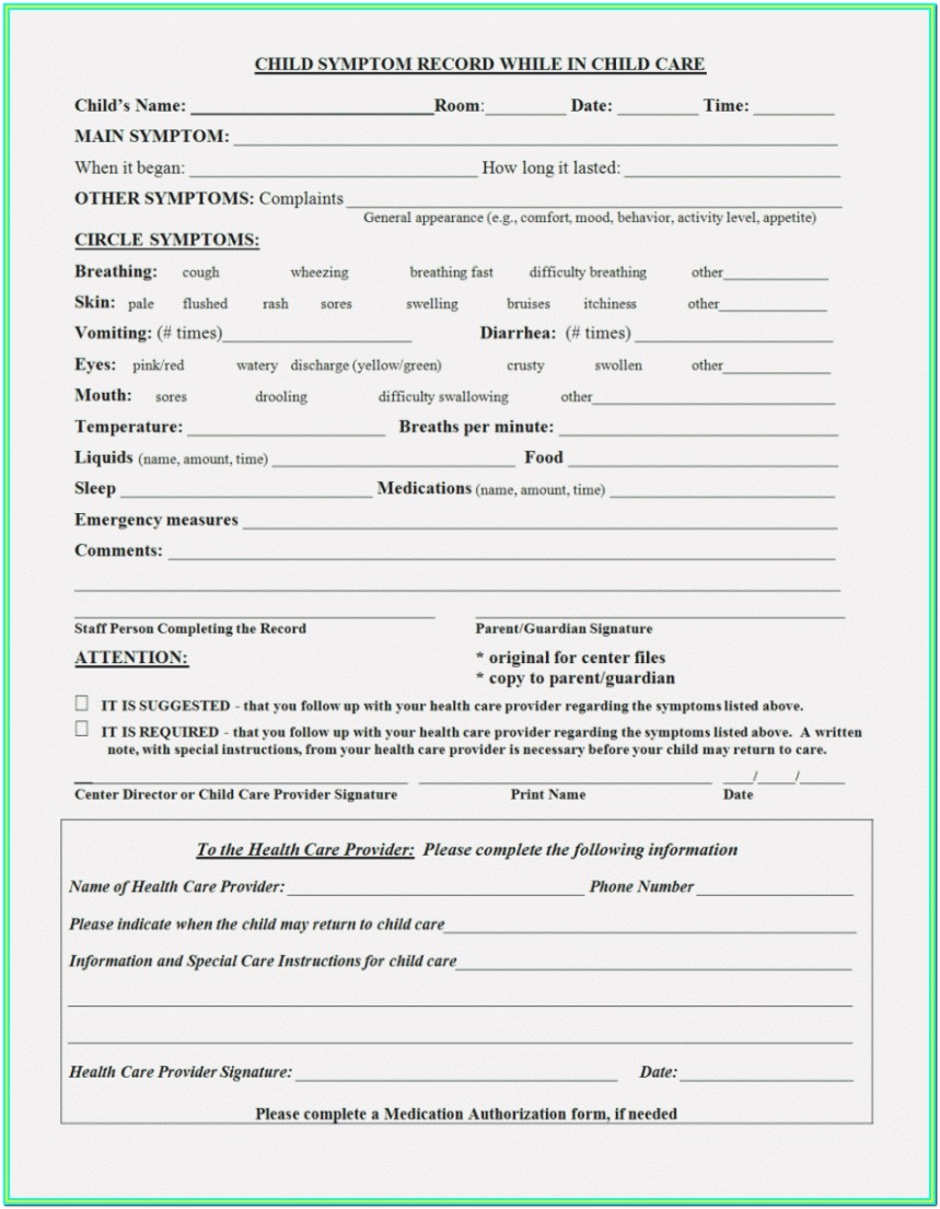 Day Care Center Application Form