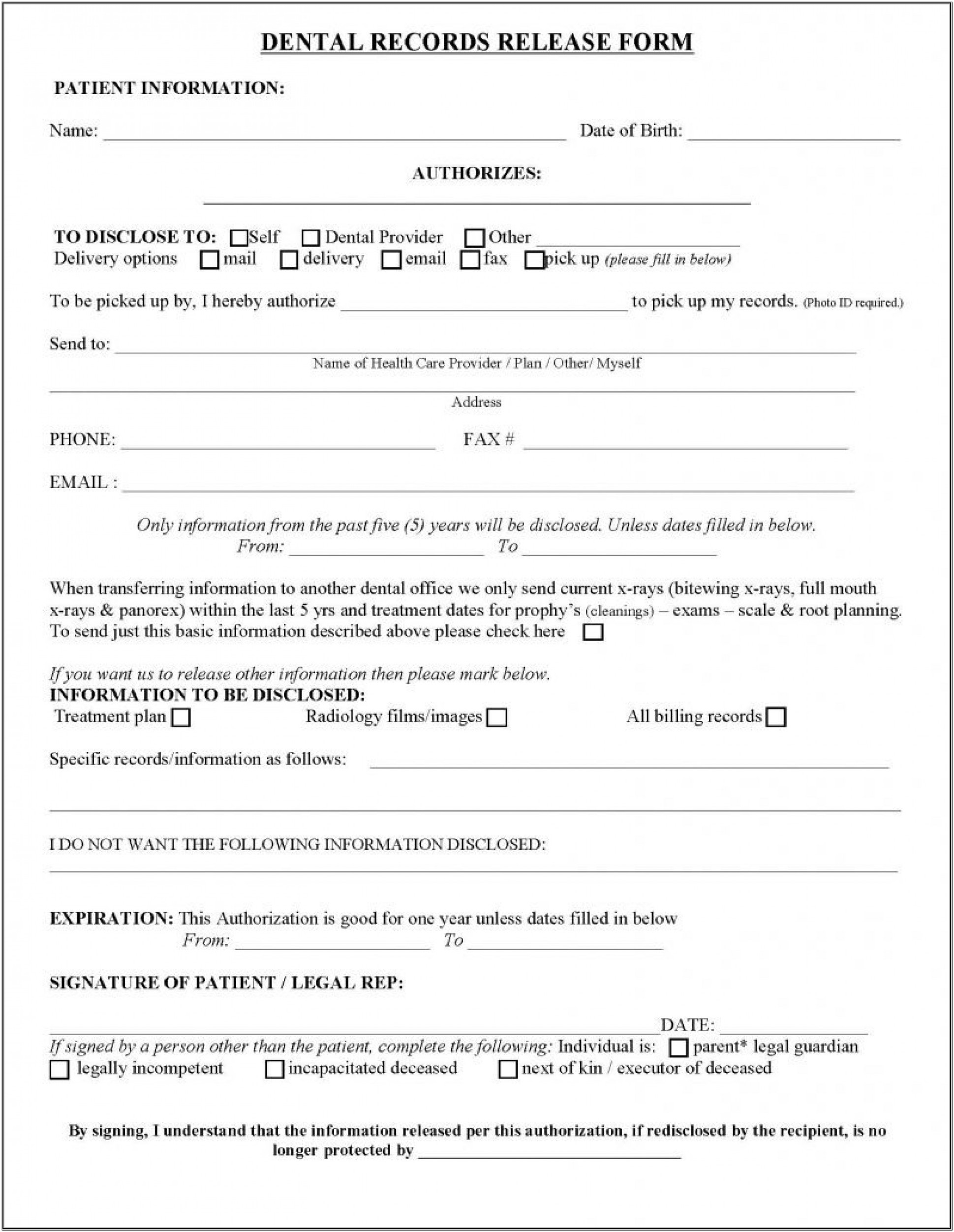 Dental Hipaa Form