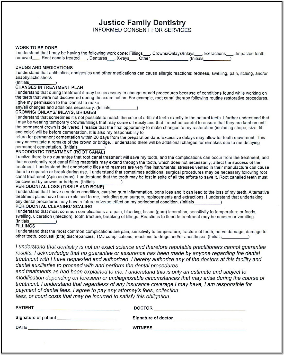 Dental Office Hipaa Consent Form