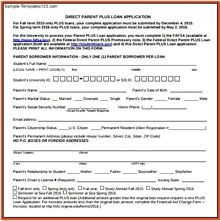 Direct Parent Plus Loan Application Form