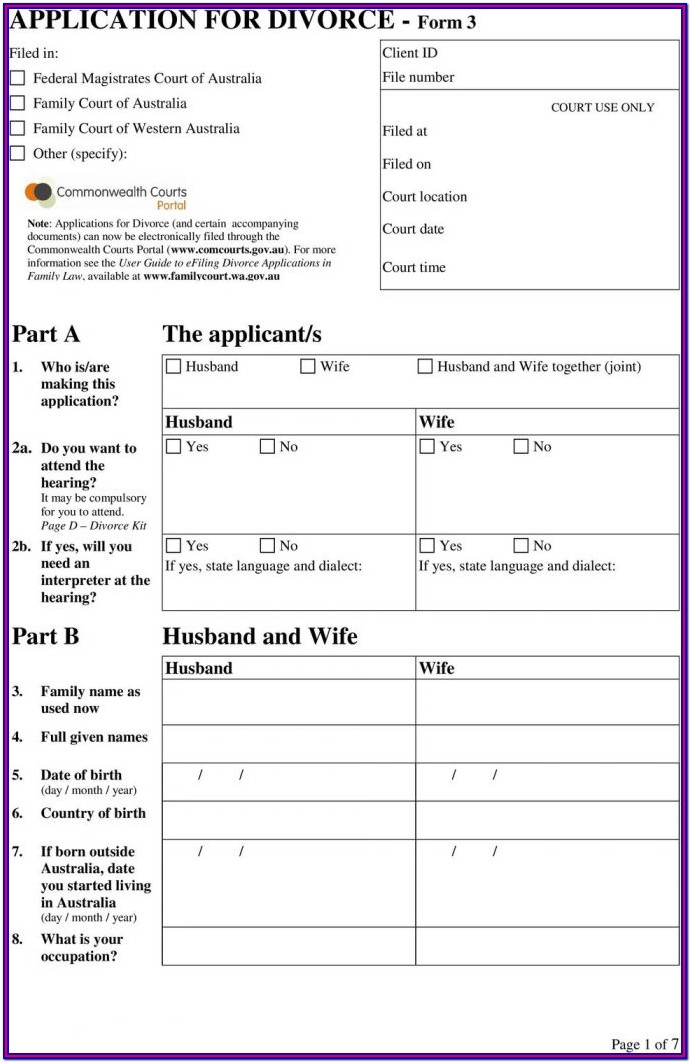 Divorce Papers Divorce Application Form Pdf