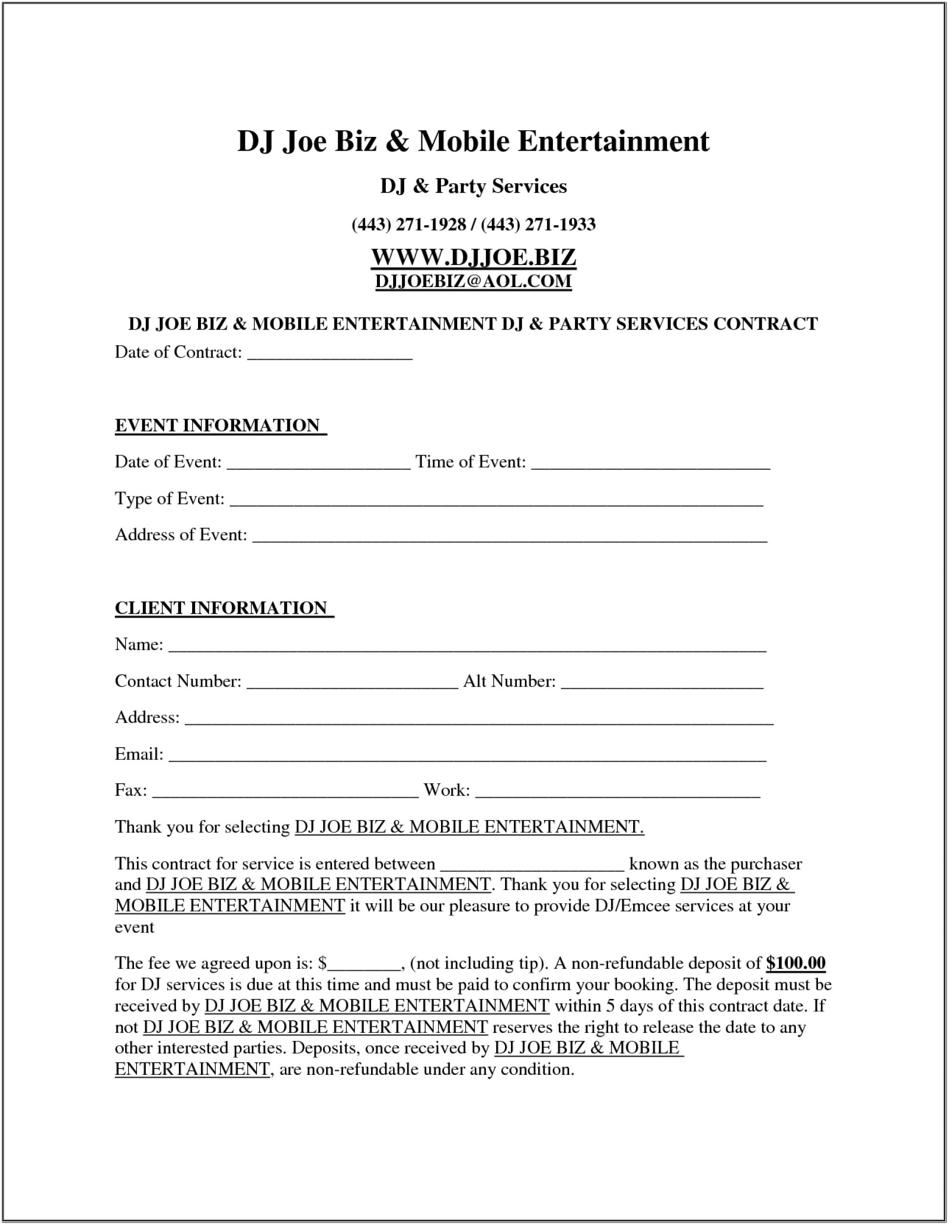 Dj Contracts Forms