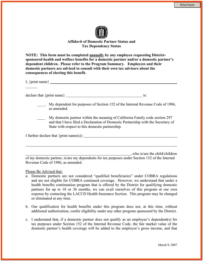 Domestic Partner Affidavit Form California
