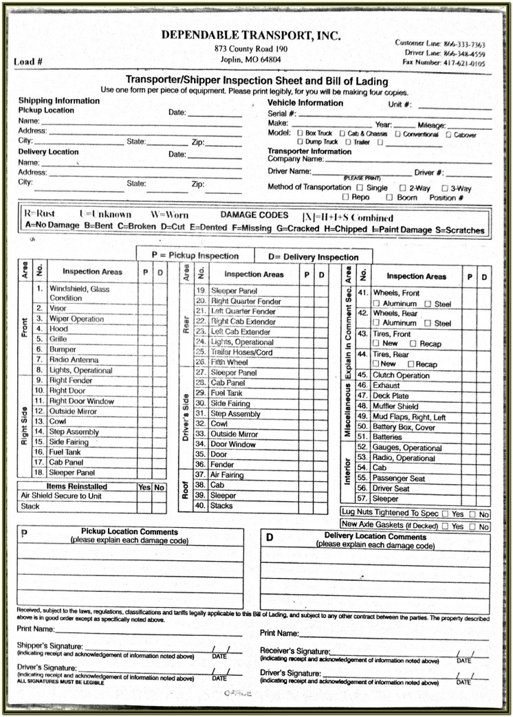 Dot Truck Inspection Forms