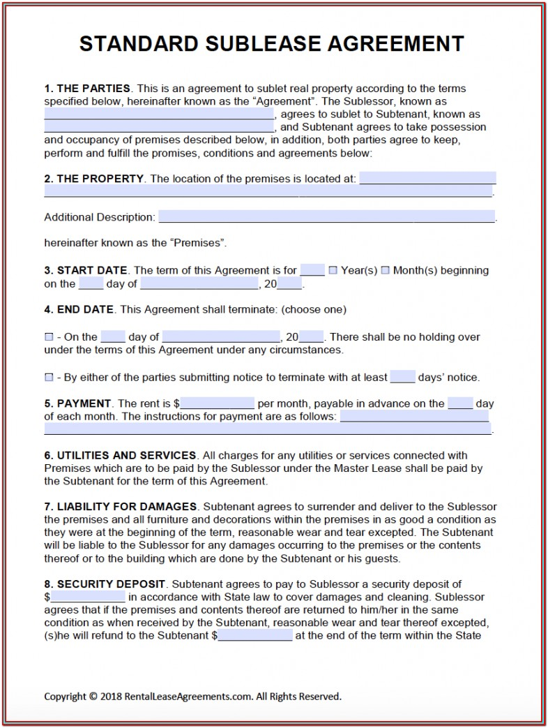 Downloadable Apartment Lease Form Pdf