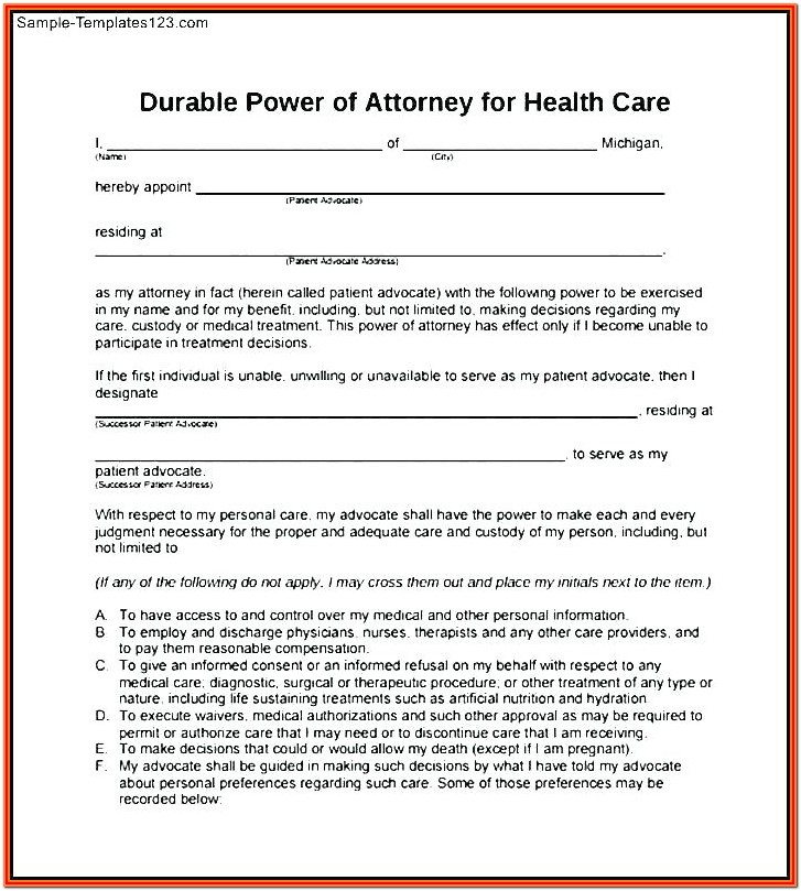 Durable Printable Blank Power Of Attorney Form
