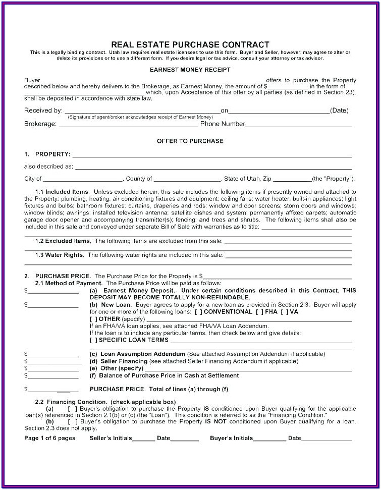 Earnest Money Contract Real Estate Form