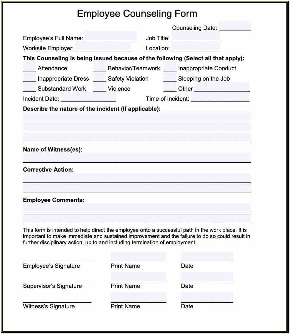 Employee Counseling Form Template