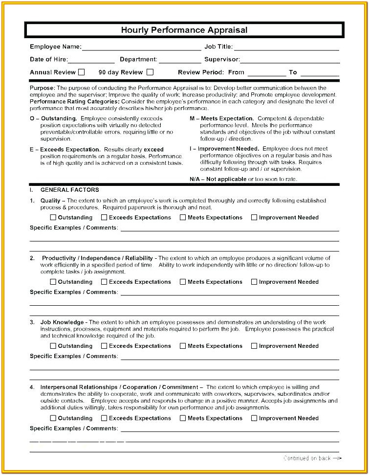 Employee Self Evaluation Form Performance Evaluation Employee Appraisal Sample