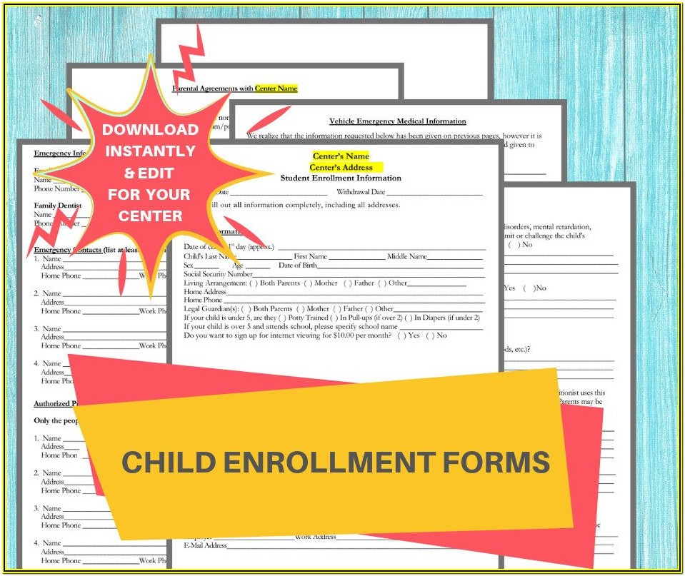 Enrollment Forms For Daycare