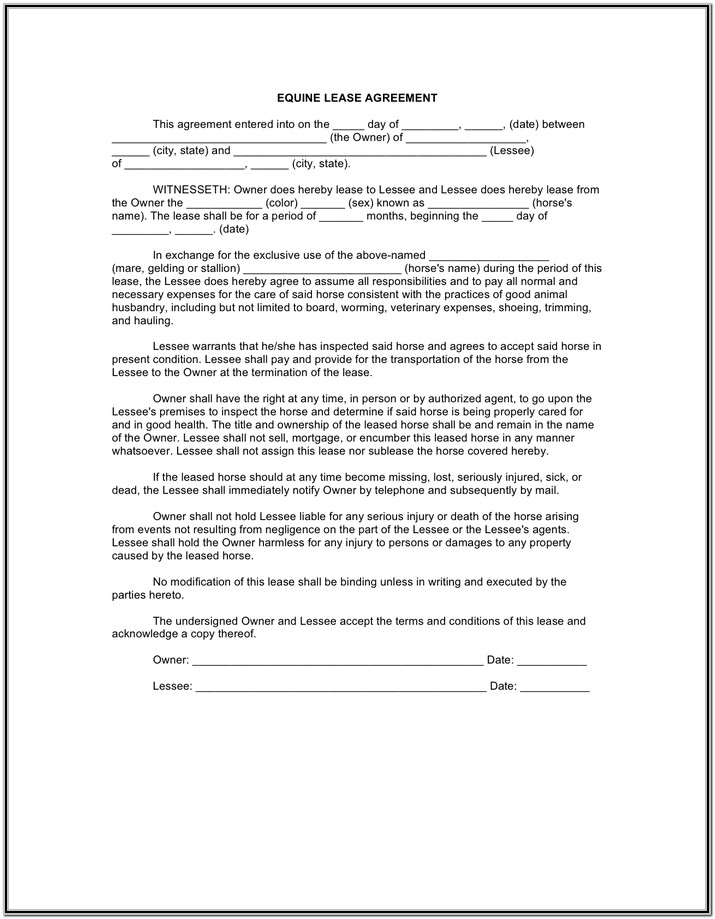 Equine Lease Agreement Form