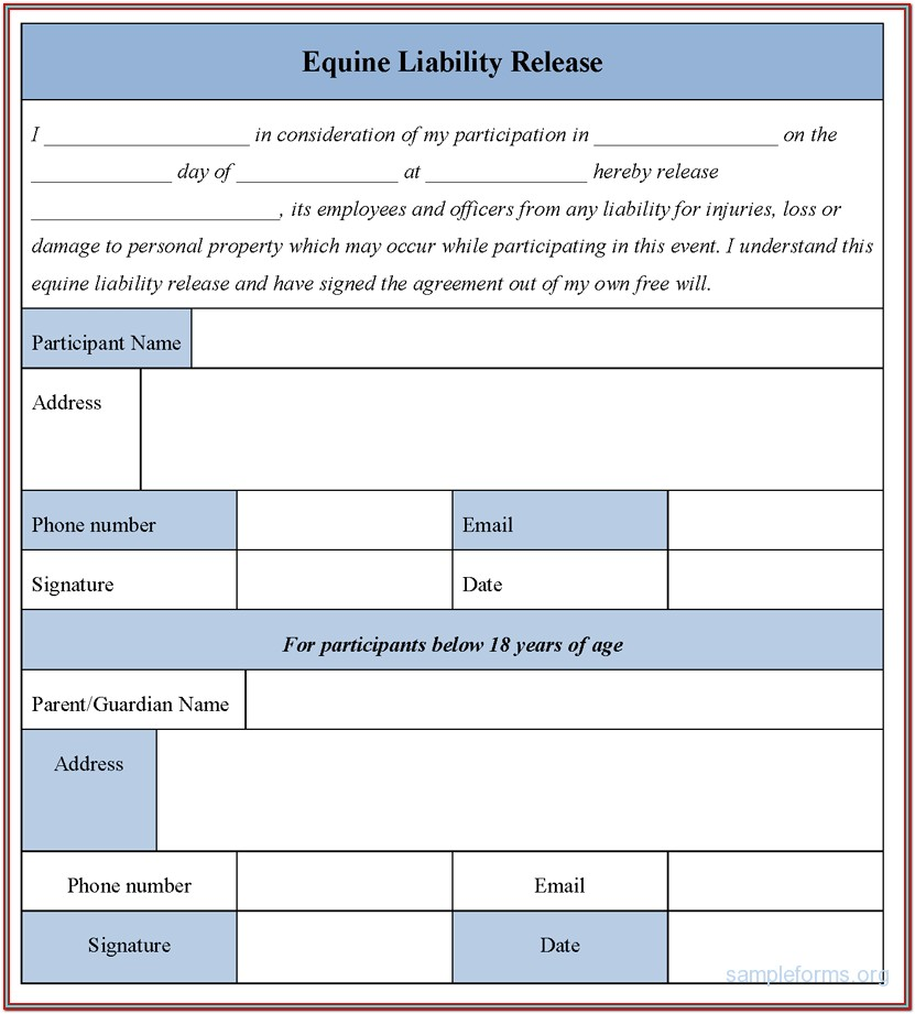 Equine Liability Release Forms