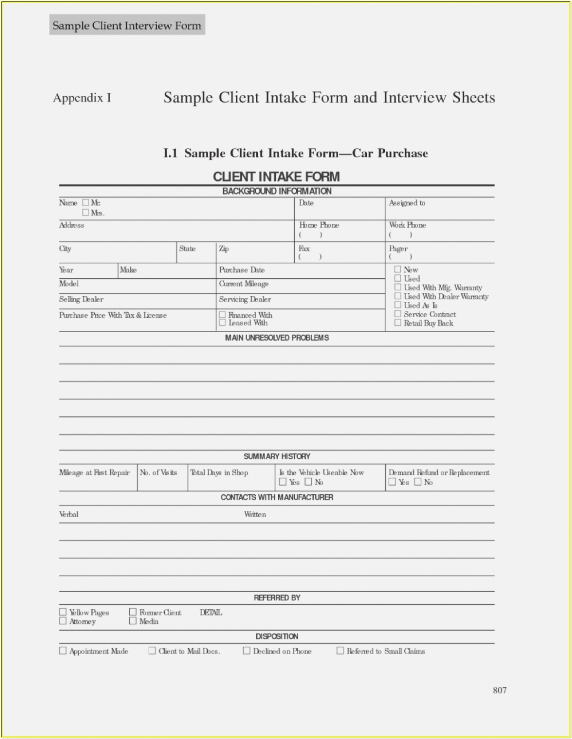 Estate Planning Intake Form Template