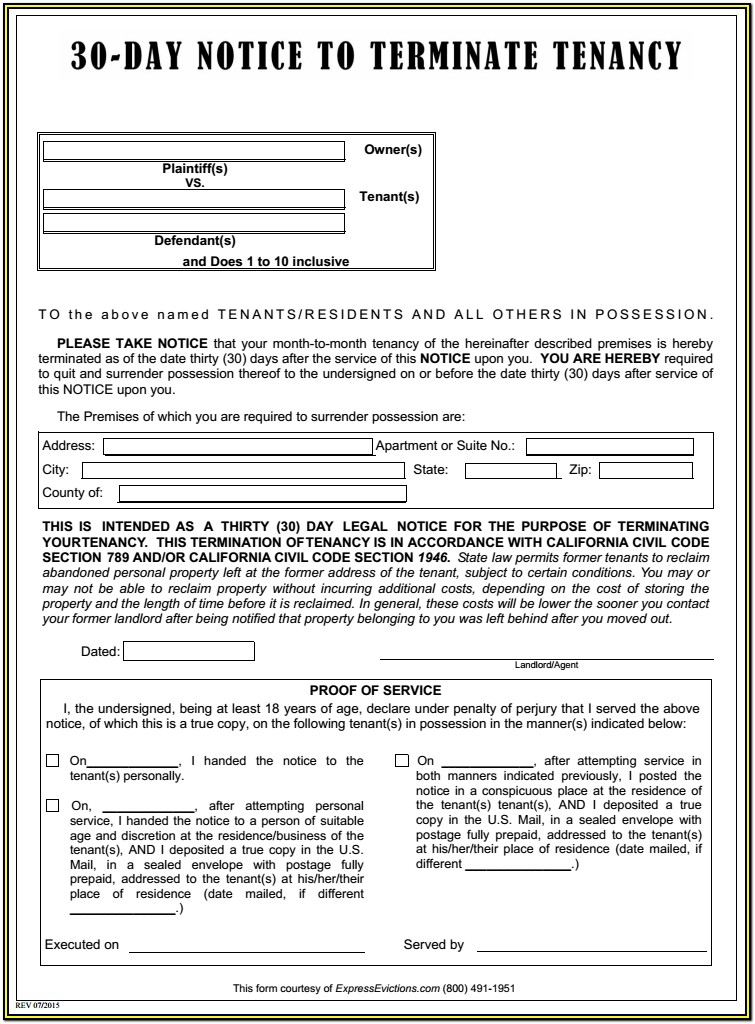 Eviction Forms California