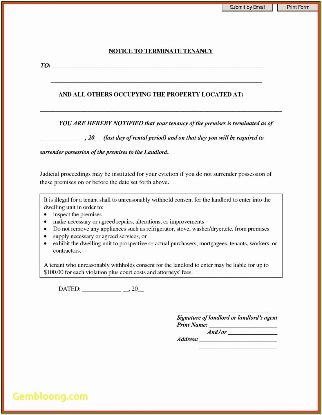 Eviction Notice To Tenant Format