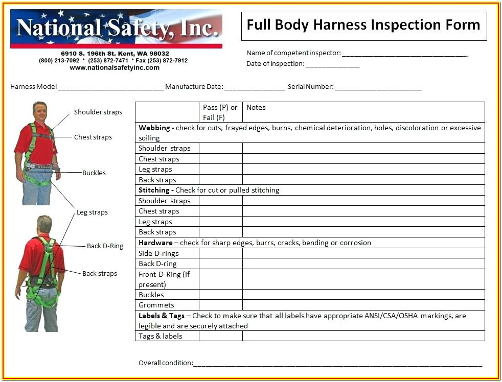 Fall Arrest Harness Inspection Form
