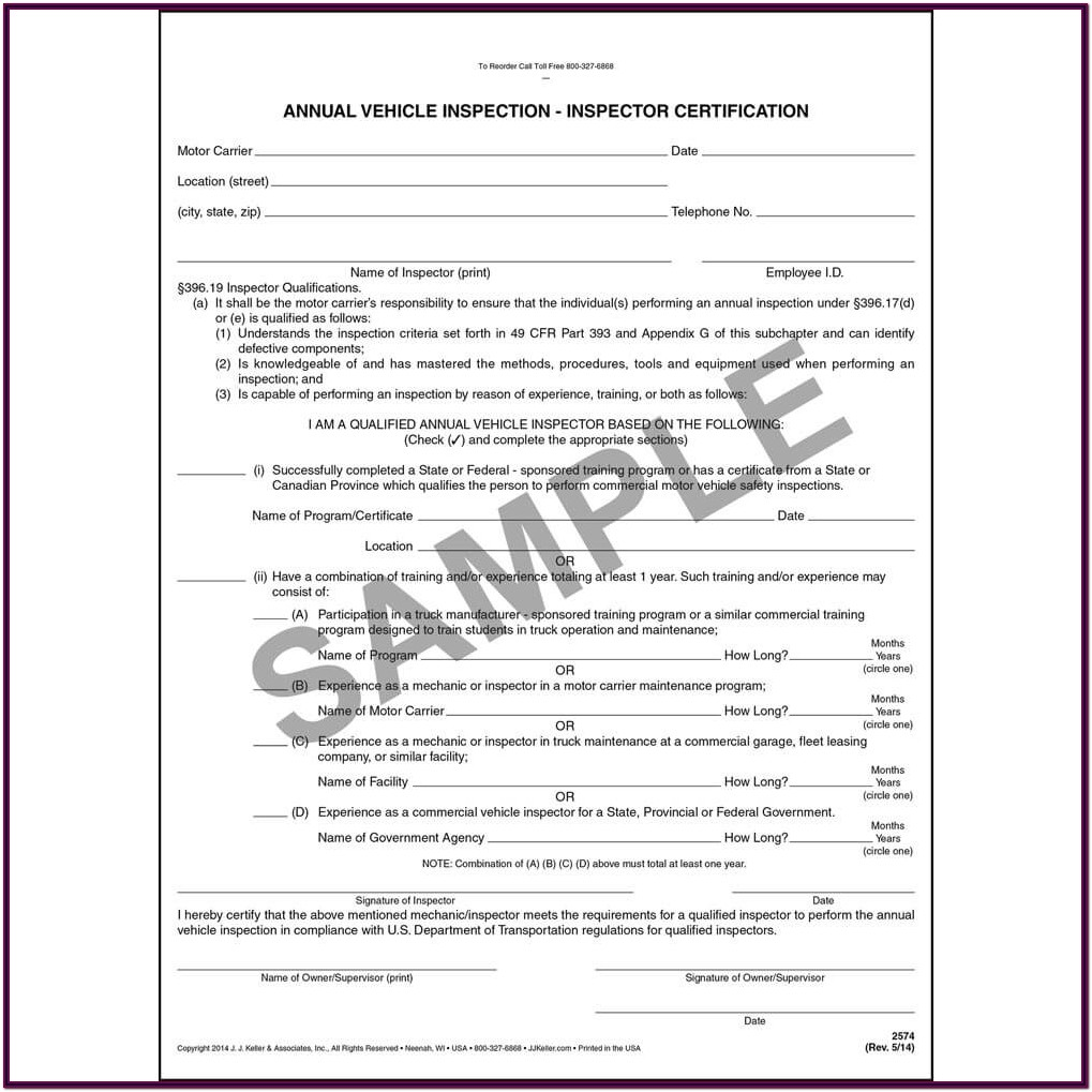 Federal Dot Inspection Form Pdf
