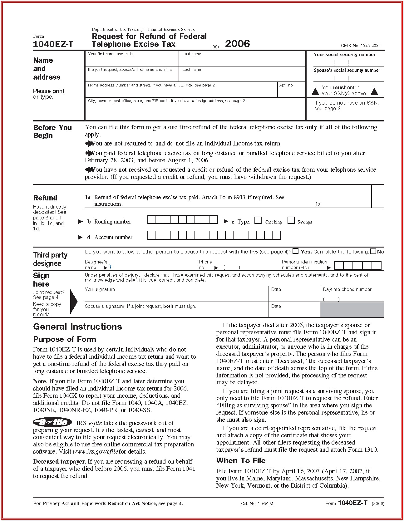 Federal Ez Tax Form