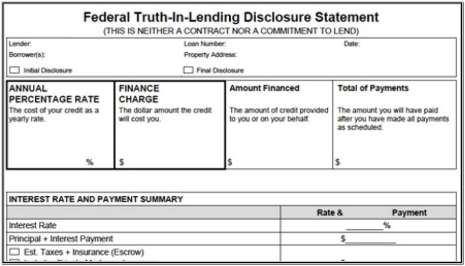 Federal Truth In Lending Disclosure Statement Form