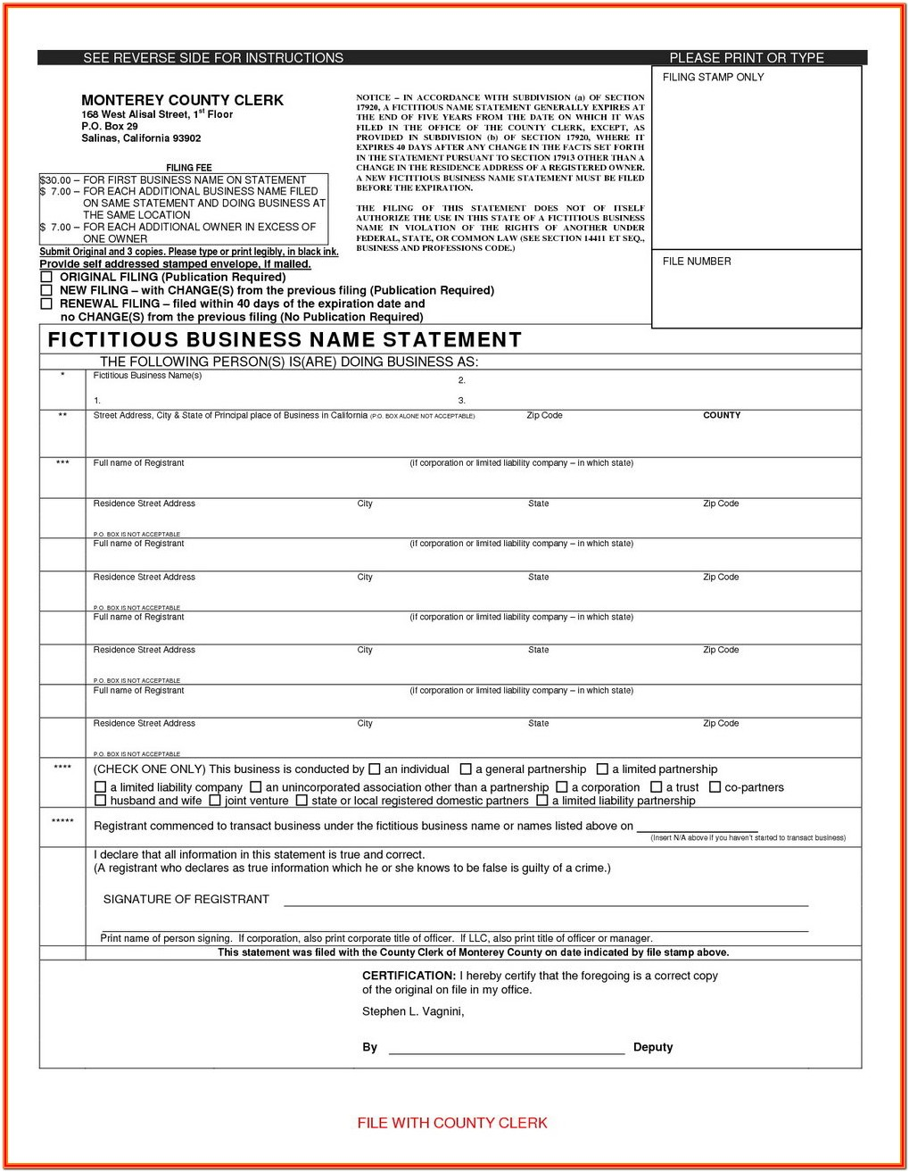 Fictitious Business Name Statement Form Pdf