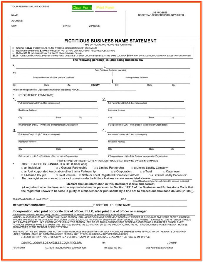 Fictitious Business Name Statement Form Riverside County