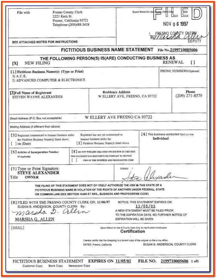 Fictitious Business Name Statement Form