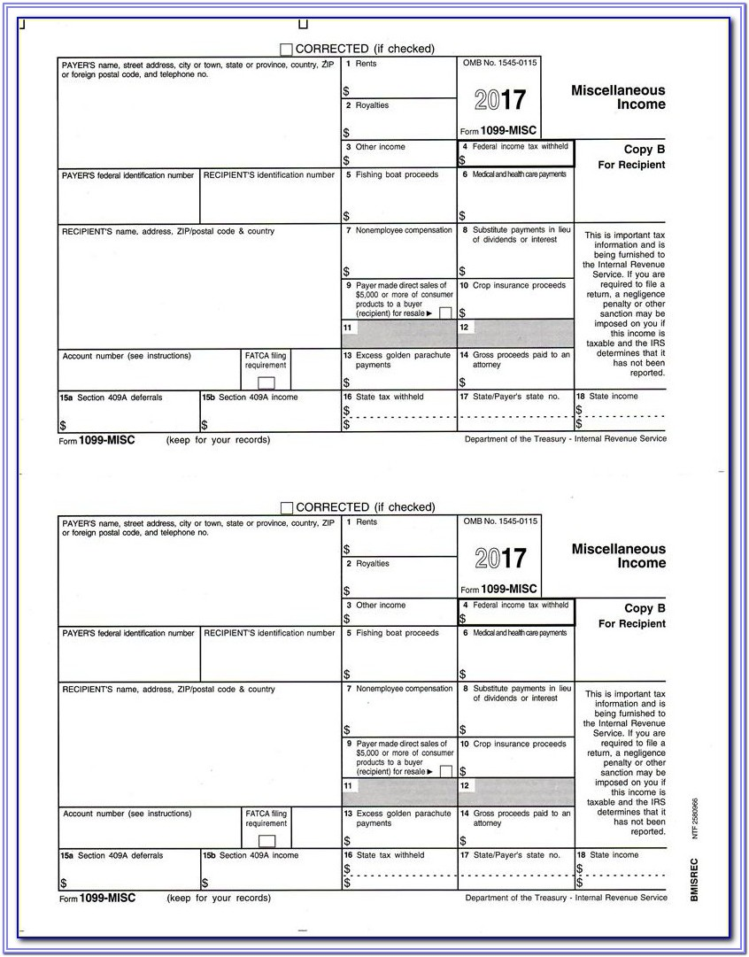 Fillable 1099 Misc Form