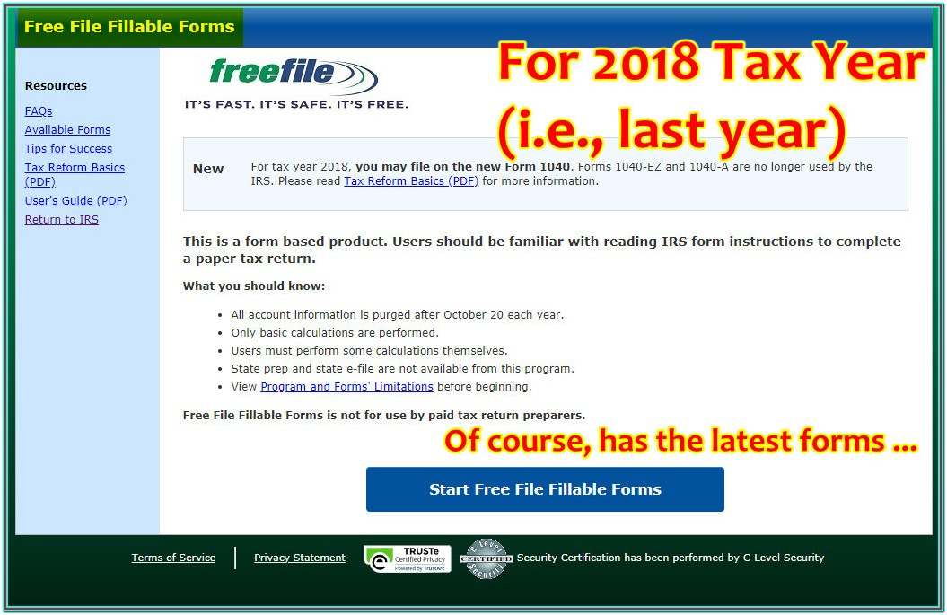 Fillable Federal Tax Forms 2018