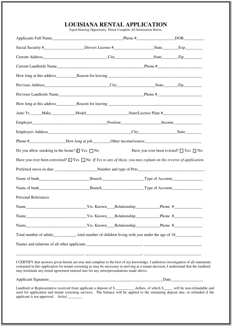 Fillable Rental Application Form