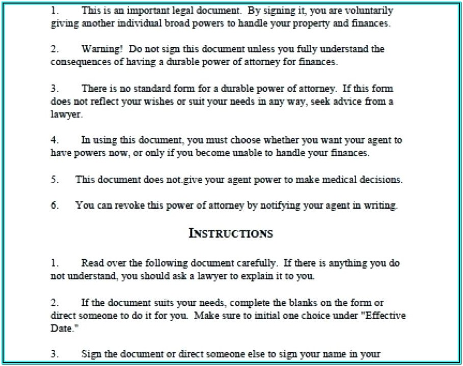 Financial Power Free Printable Durable Power Of Attorney Form Texas