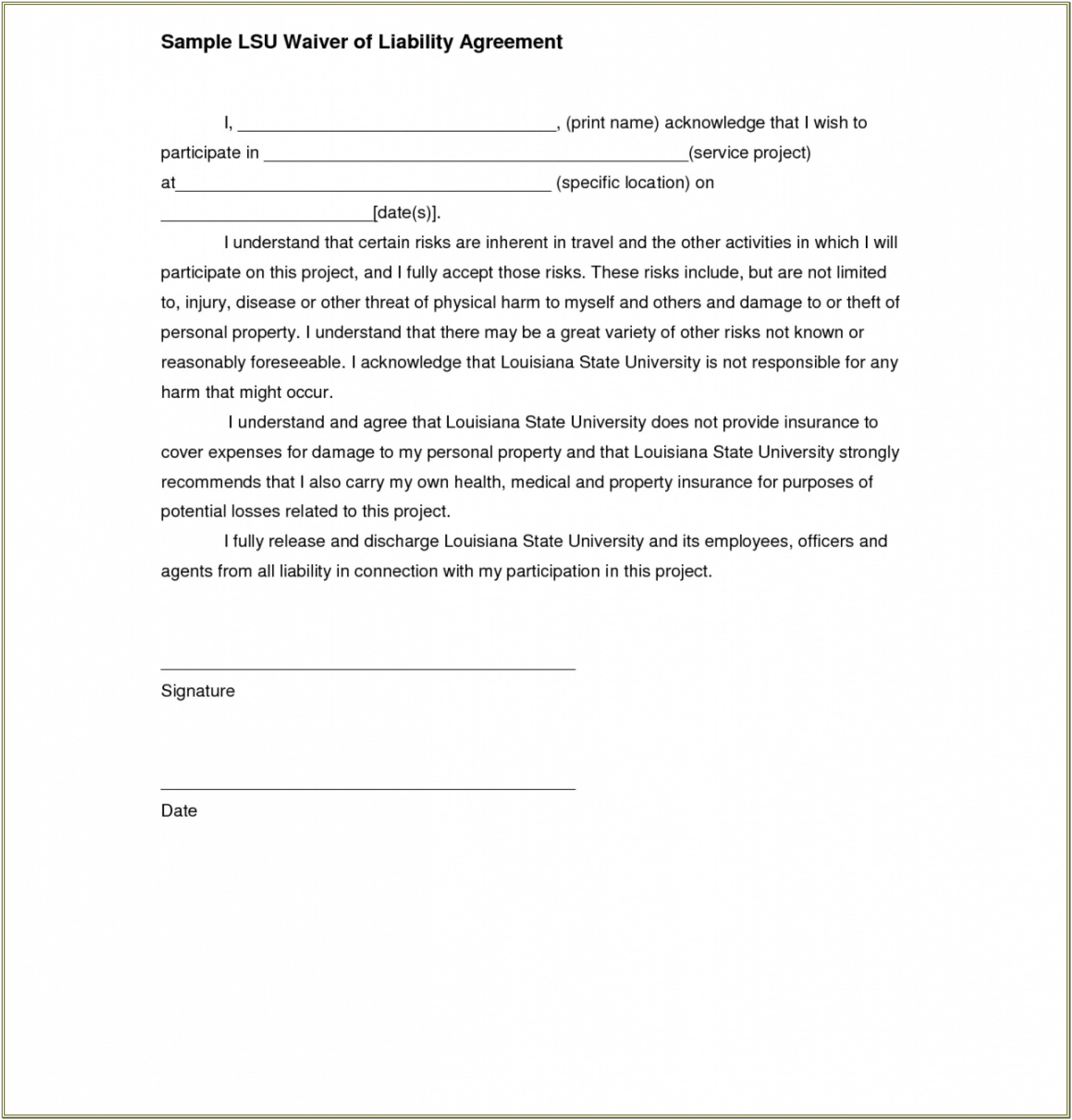 Fitness Waiver And Release Form
