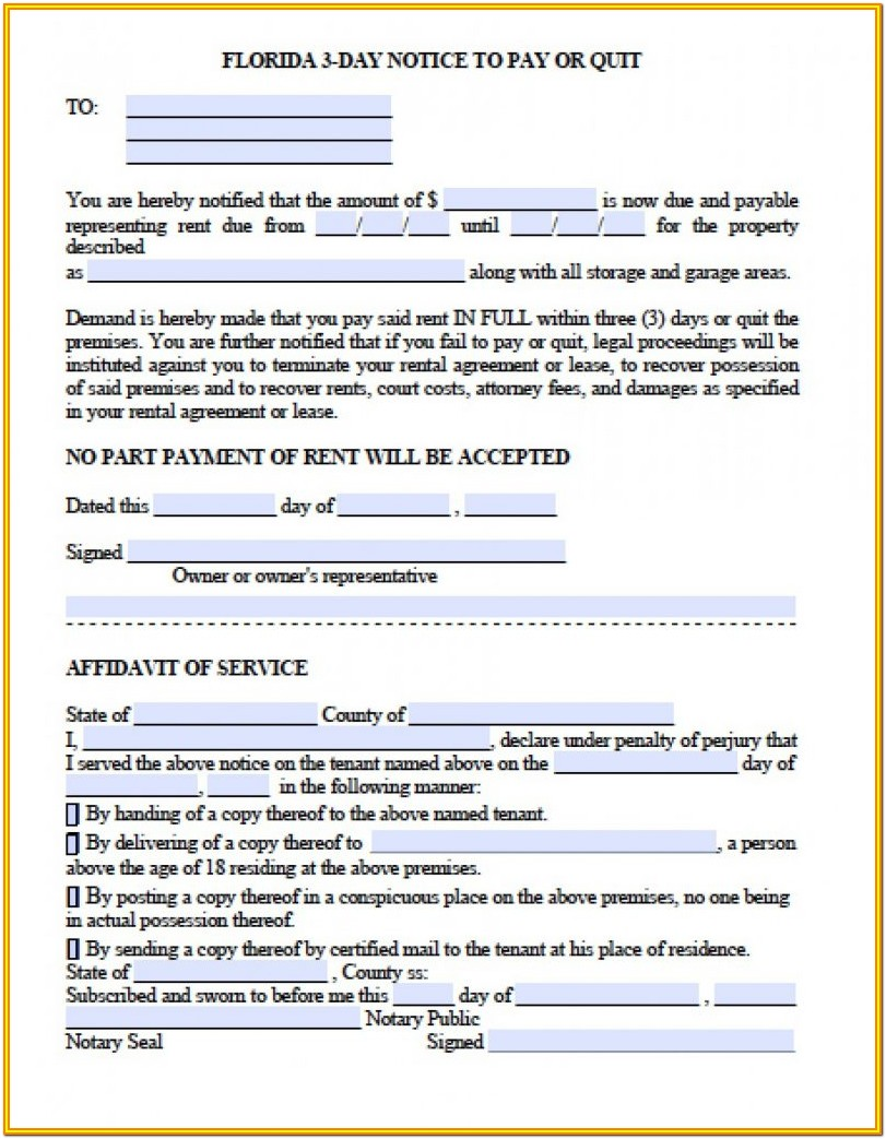 Florida 3 Day Eviction Notice Form Pdf