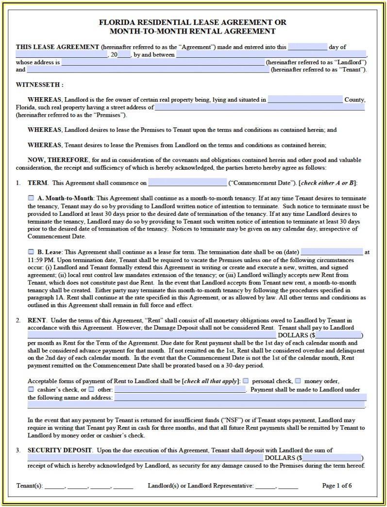 Florida Residential Lease Form Pdf