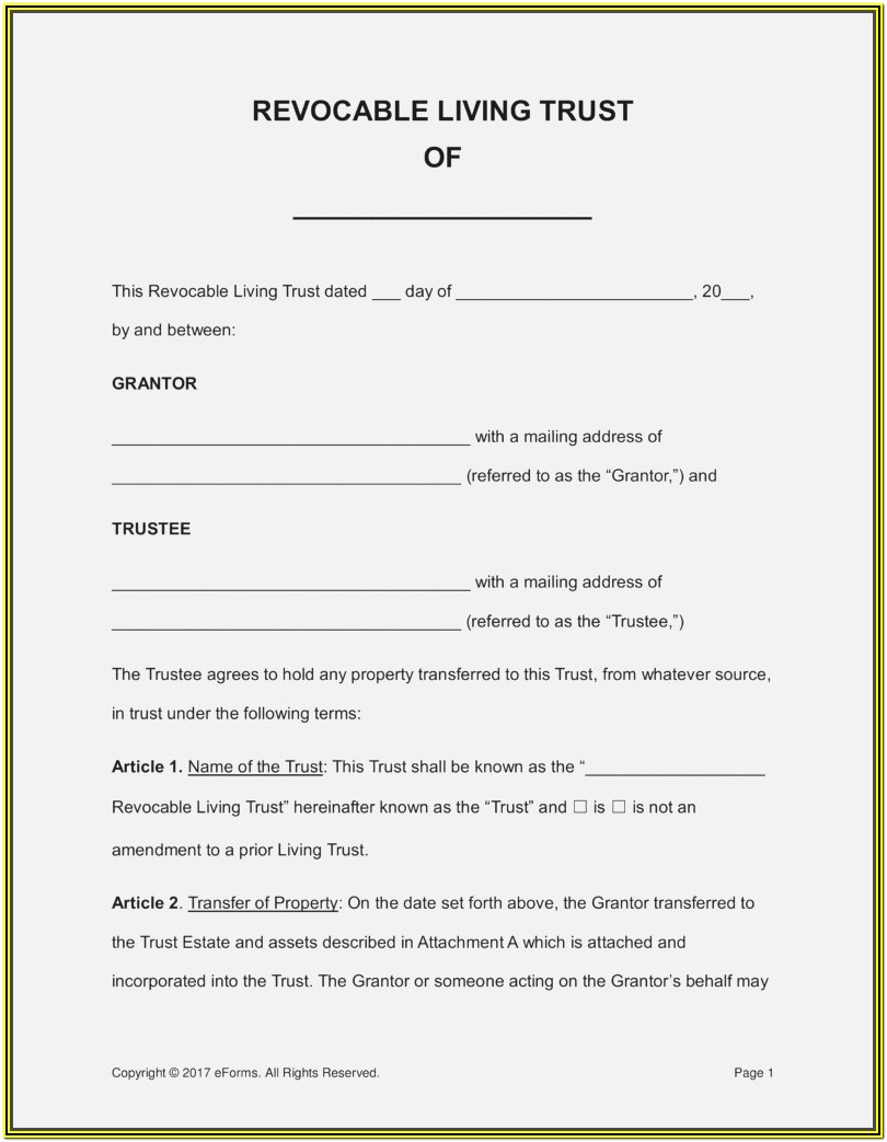 Florida Revocable Trust Form