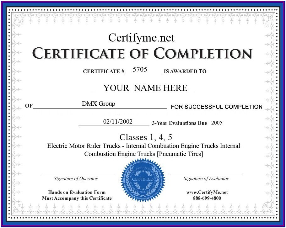 Forklift Training Certification Form