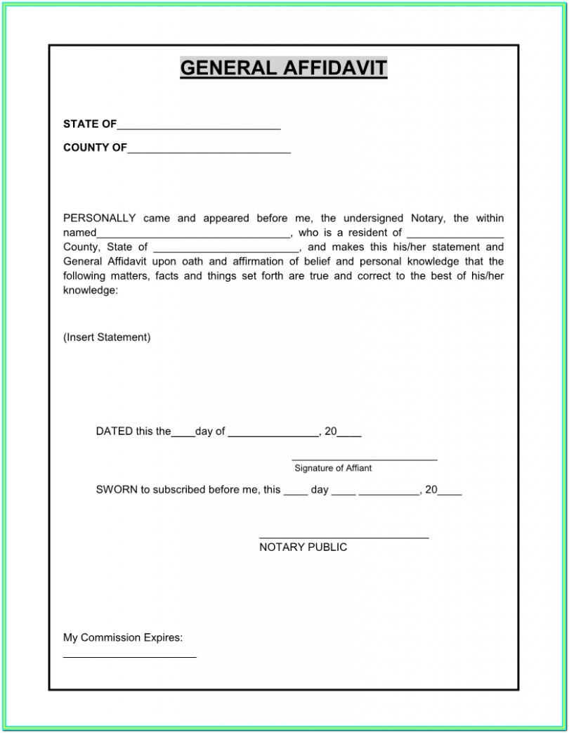 Form Affidavit Of Fact Texas