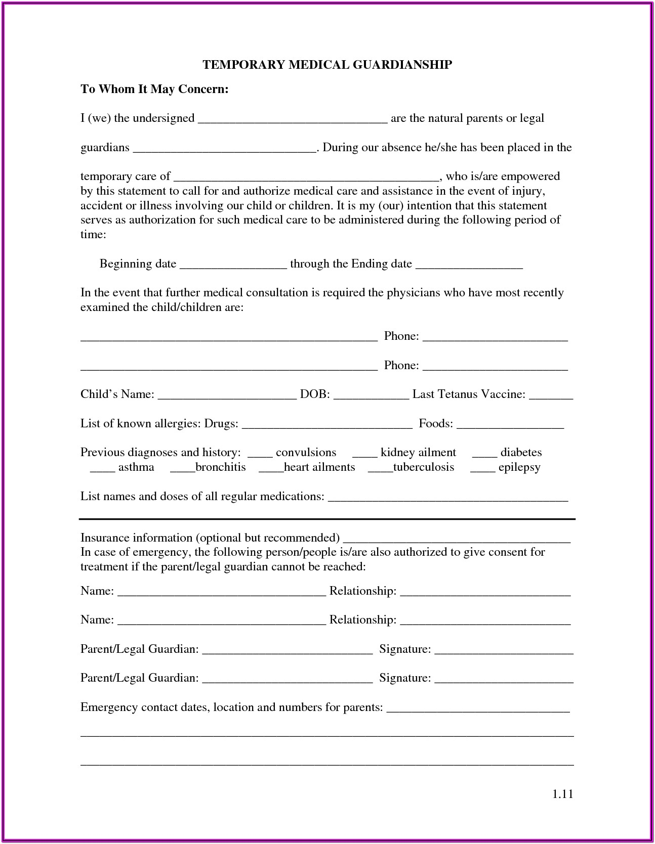 Forms For Guardianship Of A Minor Child