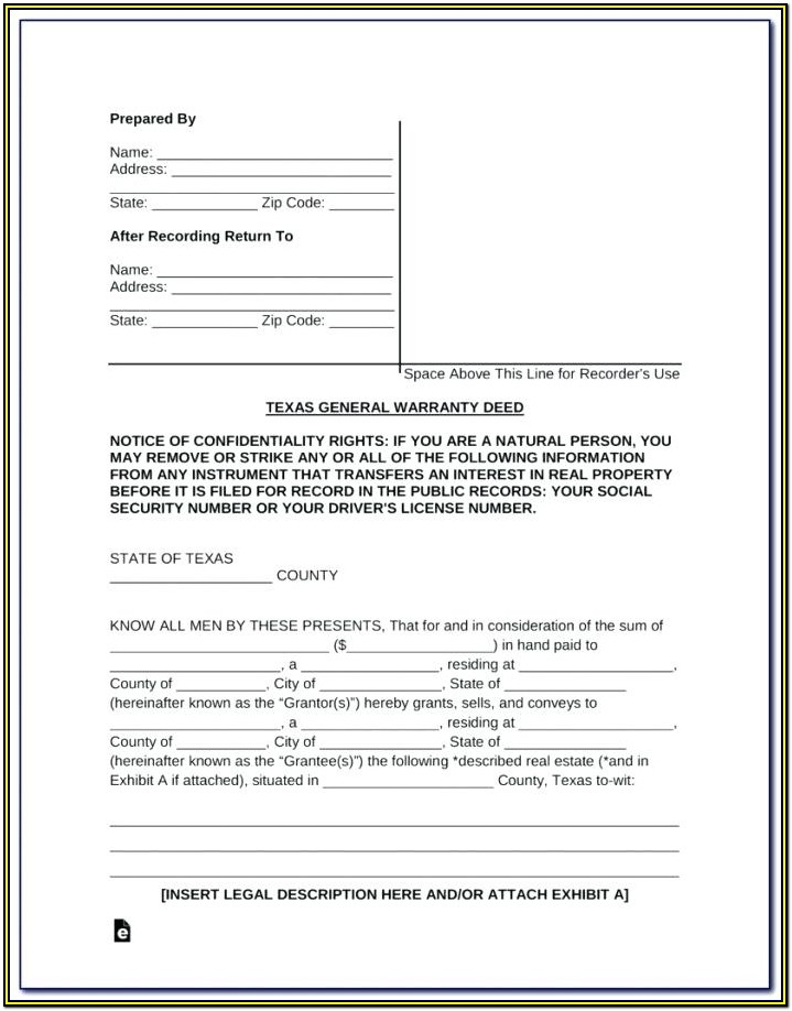 Free Blank Warranty Deed Form Texas