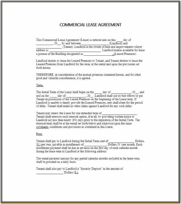 Free Commercial Lease Agreement Forms To Print