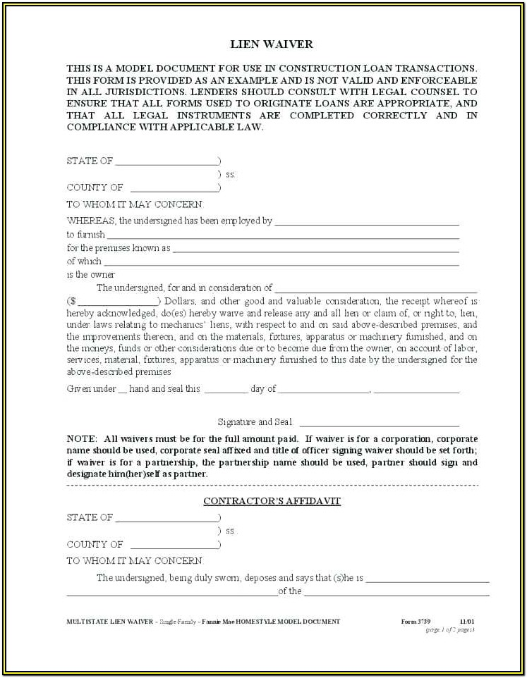 Free Construction Lien Waiver Form Mn