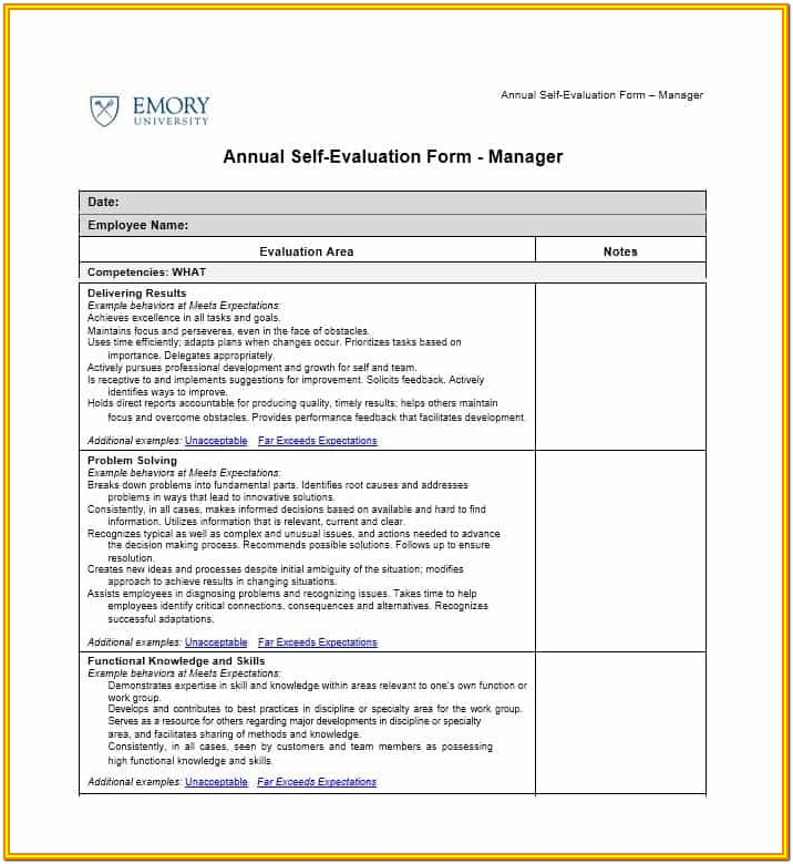 Free Employee Self Evaluation Template Forms