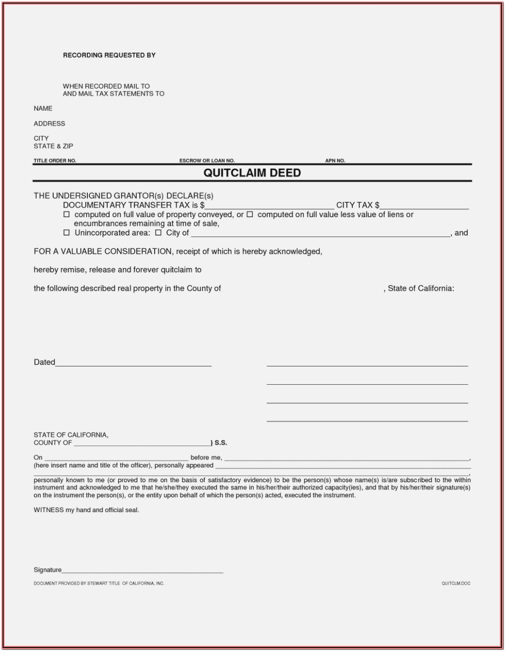 Free Grant Deed Form California